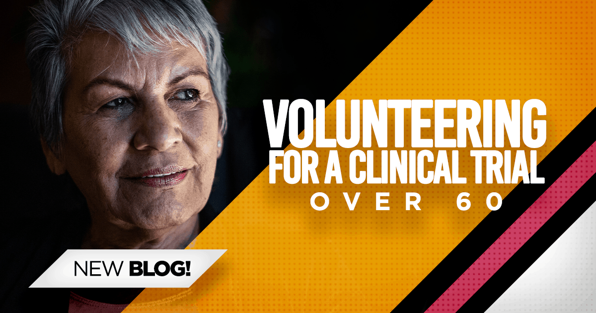 Older woman, volunteering in clinical trials over 60