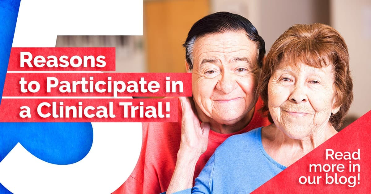 5 reasons to participate in a clinical trial, senior couple smiling, holding each other
